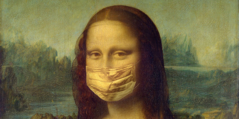 "Cover photo for ""Facing and Re-Imagining Ourselves in the Era of Coronavirus."" The Mona Lisa in PPE mask"